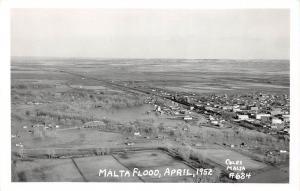 E15/ Malta Montana Real Photo RPPC Postcard 1952 Flood Disaster Birdseye
