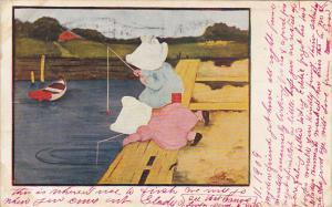 Sunbonnet Girls Fishing Just A Nibble 1905