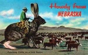 Howdy from Nebraska, NE, Punching Cattle on a Jack Rabbit, 1987 Postcard g8488