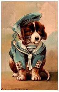 Dogs in sailor suit smoking pipe