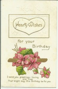 Hearty Wishes For Your Birthday...Embossed