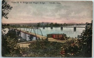 TULSA, Oklahoma Postcard FRISCO RAILROAD & Wagon Bridge HAND-COLORED c1910s