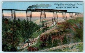 CAMAS PRAIRIE RAILROAD, ID ~ Train LAWYERS CANYON Steel Viaduct c1910s Postcard