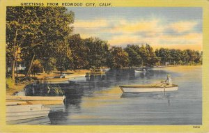 Greetings From Redwood City, California Canoes ca 1940s Vintage Linen Postcard