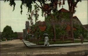 Marlboro MA Cotting Ave & Church c1910 Postcard