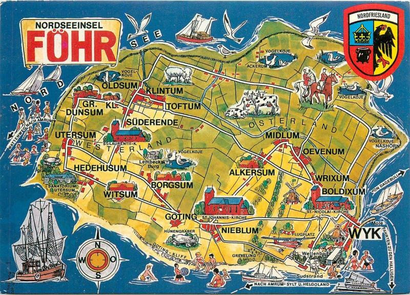 Germany Nordseeinsel Fohr Map Postcard M.S. Amrum ship cancel