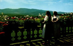 Vermont Stowe Trapp Family Lodge Baroness Von Trapp and Daughter Hedwig On Porch