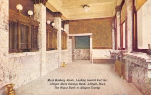 Allegan Michigan~Allegan State Bank~Main Banking Room~Teller Cage~Spittoon~1908