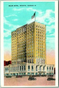 Vintage WICHITA Kansas Postcard ALLIS HOTEL Street View KROPP c1930s Unused