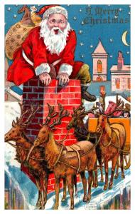 Santa Claus Red Suit , entering Chimmney, Sleigh with reindeer on roof