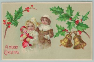 Christmas~Blonde Girl And Boy~Winter Coats~New Presents~Doll In Red~Horn~B W 296