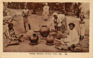 FIJI ~ MAKING EARTHEN COOKING  ~ CAINE SERIES REAL PHOTO POSTCARD