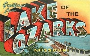 Lake of Ozarks Missouri large letters multi  Corwin Teich 1940s Postcard 21-6001