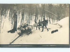 rppc Pre-1920's Forestry LUMBERJACKS LOADING TREE LOGS ONTO SLED AC7972