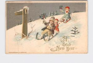 ANTIQUE POSTCARD WINSCH NEW YEAR CHILDREN SLEDDING DOWN HILL HOLDING HOLLY EMBOS