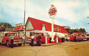 West Point NE Rasmus  Champlin Gas Station Old Cars Tow Trucks Oil Postcard