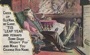 LEAP YEAR, PU-1907; Rhyme, Man imagines face of woman in cigar smoke