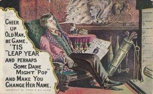 LEAP YEAR, PU-1907; Rhyme, Man imagines face of woman in cigar smoke