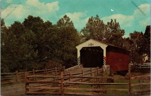 Postcard PA Pennsylvania Route 30 Red Old Covered Bridge Unposted