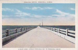 Pensacola Bridge 4 miles long across Bay to Beach, Pensacola Beach,  Florida,...