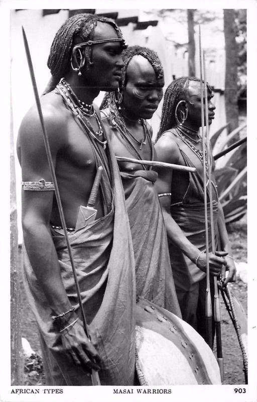 #903. African types. Masai Warriors Real Photo Postcard