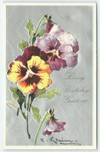 Catherine Klein~PFB Yellow & Purple Pansies~Flowers on Silver Texture Back~#7348