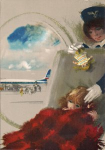LOT Polish Airlines, Flight Attendant, Child with Doll, Pretty Stewardess, 1960s