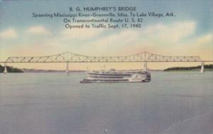 Arkansas B G Humphrey's Bridge Spanning Mississippi River To Lake Village