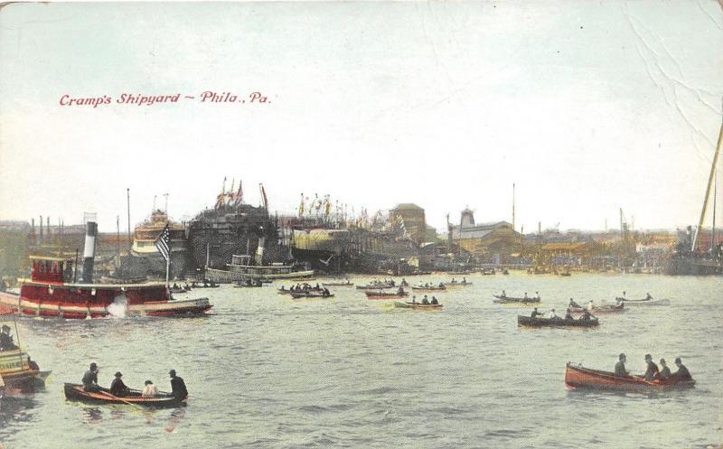 Philadelphia Pennsylvania~Cramp's Shipyard~Lots of Row Boats-Ships~c1910 Pc