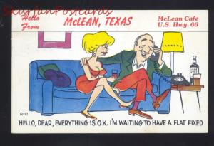 MCLEAN TEXAS ROUTE 66 CAFÉ RESTAURANT VINTAGE COMIC ADVERTISING POSTCARD