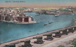 Malta Saluting Battery Antique Postcard