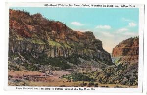 WY Ten Sleep Canon Cliffs Big Horn Mountains Vtg Postcard