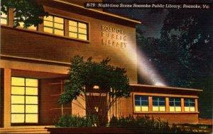 Virginia Roanoke Public Library At Night