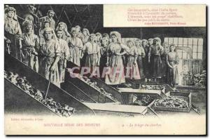 Postcard Old Mine Mining Miners Sorting Coal