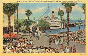 Santa Catalina California~Crowds Greet Daily Arrival of Steamer at Avalon~1940