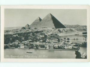 old rppc THREE PYRAMIDS Giza Egypt i2399