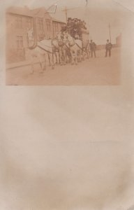 Antique Horse & Cart Coach Trip & Conductor RPC Postcard