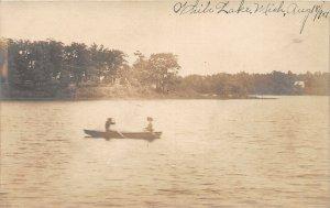G21/ White Lake Michigan RPPC Postcard c1920s Rowboat Cottages
