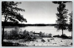 Oxford Wisconsin~Goose Lake Fishermen in Rowboat~Sandy Beach~1952 RPPC