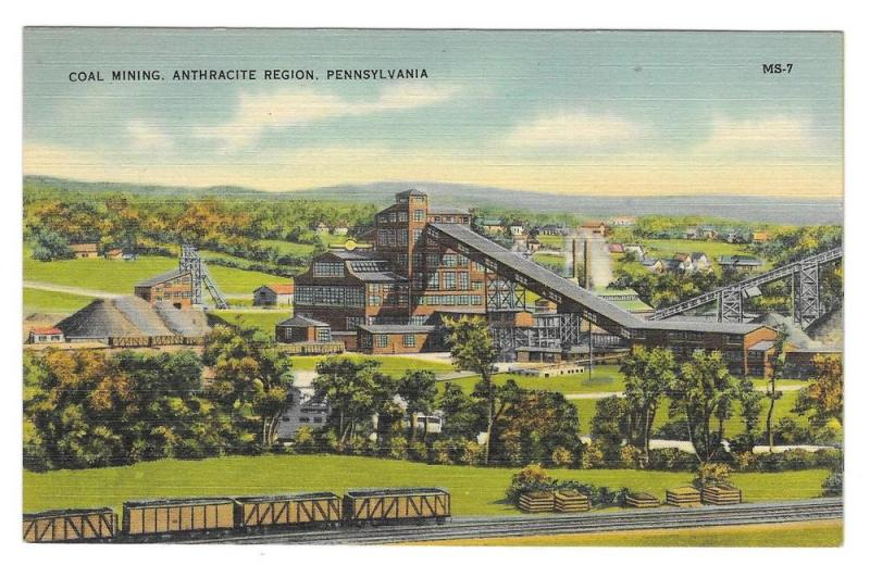 Anthracite Coal Mining Region PA Mebane MS 7 Linen Postcard