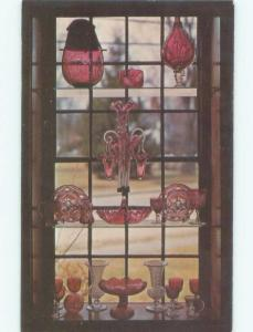 Pre-1980 ANTIQUE GLASS IN CRANBERRY WINDOW AT MUSEUM Cape Cod Sandwich MA E6340