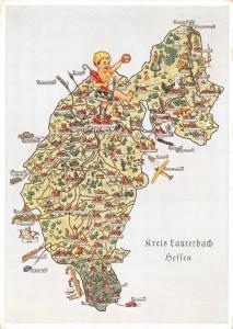 Vintage Germany Map Karte Postcard, Postkarte Kreis Lauterbach heffen 54D