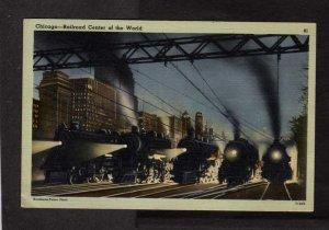 IL Railroad Train Depot Station Locomotives Chicago Illinois Linen Postcard