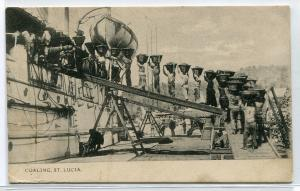 Coaling Steamer Ship St Lucia West Indies Caribbean 1910s postcard