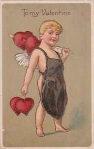 Valentine's Day Cupid In Overhalls Carrying Hearts