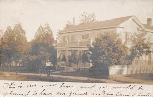 Tioga IL Carrie Curtis Stands by His New Home~Porter of Roseville OH RPPC c1906