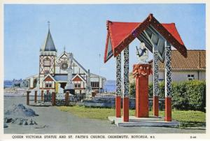 Queen Victoria Statue St. Faith's Church Ohinemutu Rotorua NZ Postcard D22