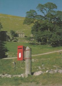 Yockenthwaite Yorkshire Village Post Pillar Box Postcard
