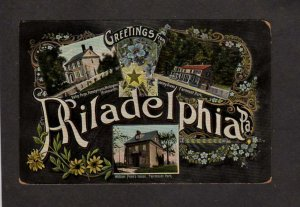 PA Greetings From Philadelphia Pennsylvania Postcard Valley Forge Fairmount Park