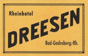Germany Bad Godesberg Rheinhotel Dreesen Vintage Luggage Label sk2677